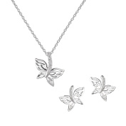 AURA BY TJM 925 STERLING SILVER & WHITE CUBIC ZIRCONIA BUTTERFLY DESIGN EARRING/PENDANT jewellery SET