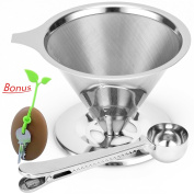 Pour Over Coffee Maker, 1-4 Cup Reusable Filter - Enduring Stainless Steel Cone Dripper - Double, Superior Filtering