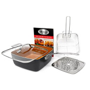 Gotham Steel Ti-Cerama 24cm Deep Square Pan With Lid, Frying Basket, Steamer Tray and Recipe Book - 5 Piece Set