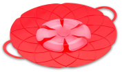 Internet's Best Silicone Spill Stopper | Boil Over Guard Lid | Pots and Pan Splash Protector | Kitchen Cooking Splatter Screen | Red