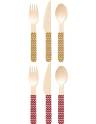 Perfect Stix Game Day Set Gold and Red-36ct Game Day Wooden Cutlery Sets, Gold and Red