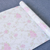 SimpleLife4U Pink Flower Contact Paper Self Adhesive Shelf Liner Table Drawer Sticker 45cm By 3m