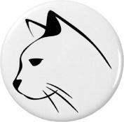Sleek Outline of Cat Face 5.7cm Bottle Opener w/ Keyring Kitty Black & White Feline Love Cute Pet