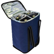 Vina® 4 Bottle Wine Carrier - Travel Insulated Wine Carrying Case Tote Bag for Champagne Picnic Cooler Blue