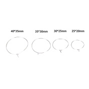 100 Pcs Silver Plated Wine Glass Charm Rings Earring Hoops Wedding Hen Party,30*25mm by Crqes