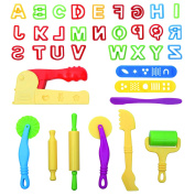 LoveS Set of 36pcs Smart Dough Tools Kit with Capital Letters and Extruder Machine, Assorted Colour