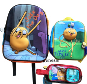 "Adventure Time 3D Backpack Jake & Fin, ""What Time Is it"" Adventure Time Mini Backpack With Pencil School Supplies Pouch"