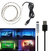 USB TV Background Lighting,Waterproof Flexible 100cm SMD3528 RGB LED Strip Lights with USB Cable and Mini Controller