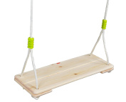HappyPie Adult Super Big Wood Tree Hanging Swings Seat with 170cm Height Adjustable Nylon Rope Per Side