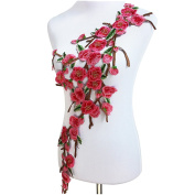 1pc Plum Blossom Embroidered Patch Lace Cord Venise Applique Motif Trimming Scrapbooking Sewing Accessories Craft T1428