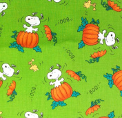 """1/2 Yard - Snoopy & Woodstock """"The Great Pumpkin"""" on Green Peanuts Halloween Fabric (Great for Quilting, Sewing, Craft Projects, Throw Pillows & More) 1/2 Yard X 110cm Wide"""