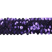 Sequin Trim 3.8cm Wide Polyester Stretchable Sequin Trim Rolls for Arts and Crafts, 10-Yard, Purple