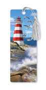 Dimension 9 3D Lenticular Bookmark with Tassel, Lighthouse Featuring Seagulls and Crashing Waves