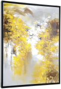 HobbitHoleCo 80cm by 110cm Framed Hand Painted Acrylic on Canvas, Luna M., Yellow Trees