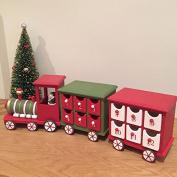 Gisela Graham Traditional Wooden Advent Train Christmas Decoration