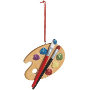 Painters Palette Resin Hanging Christmas Ornament - Size 7.6cm .