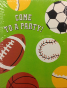 Kids Sports Birthday Party Fill-in Invitations Cards White Envelopes