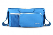 Deluxer Stroller Organiser Bag - Premium Nappy Bag & Stroller Cup Holder - Universal Fit - 2 Deep Drink Holders & 1 Zippered Pouch - Perfect Gift Idea - No Hassle .  - Blue