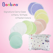 Organic Bamboo Nursing Pads (12 Pack) Including Signature Travel & Laundry Bag – Reusable & Washable, Soft & Hypoallergenic Breastfeeding Pads