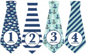 Nautical Ties, Monthly Baby Ties, Month Stickers, Ocean Ties, Striped Baby Ties, Baby Stickers, Baby Boy Gift, Preppy