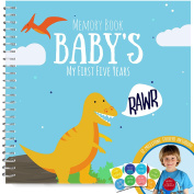 Baby's First Five Years Memory Book With 12 Milestone Stickers, Dinosaur Edition