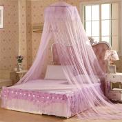 Academyus Elegent Bed Netting Canopy Round Dome Mosquito Net Summer Bedroom - Purple