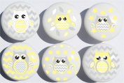 Yellow and Grey Owl Drawer Pulls / Owl Ceramic Nursery Drawer Knobs, Set of 6