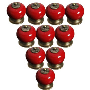 Lsgoodcare Red 38MM10PCS Europe Vintage Pumpkin Style Ceramic Door Knobs Drawer Pull Handle Cabinet Cupboard Wardrobe Baby Kid's Children's Furniture