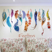 Wall Sticker, Mikey Store Classic Creative Dream Catcher Feather Art Decal Mural