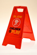 """Children at Play Slow Sign for Yards and Driveways (Double-Sided, Red) - """"Slow, Children at Play"""""""