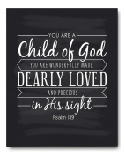 Child of God Quote Art Print by Ocean Drop Photography (20cm x 25cm ) - Perfect Communion, Baptism, Christening or Baby Gift, Perfect for a Godson or Goddaughter Gift - Beautiful Typography Artwork