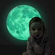 Creative 30cm Luminous Moon Skin Wall Sticker Decorative Glow in the Dark, Decor Removable Art Mural Baby Nursery Room