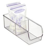 mDesign Baby Food Organiser Bin for Breastmilk Storage Bags/Formula - 10cm x 28cm x 8.9cm , Clear