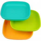 Re-Play Made In USA 3pk Plates with Deep Sides for Baby, Toddler - Aqua, Green & Sunny Yellow