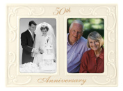 Malden International Designs 50th Anniversary Ceramic Milestones Picture Frame with Two Openings, 8.9cm by 13cm