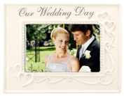 Malden Glazed Ceramic Our Wedding Day Picture Frame, 10cm by 15cm