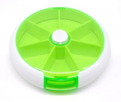 PuTwo 7 Day Round Pill Box Tray Medicine/Vitamins Storage Container/Dispenser, Green, 120ml