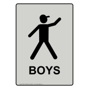 ComplianceSigns Vertical Aluminium Boys Restroom Sign, 36cm X 25cm . with English Text and Symbol, Black on Pearl Grey