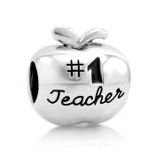925 Sterling Silver #1 Teacher Apple Bead Charm Fits Pandora Bracelet