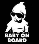 LESO © Baby On Board Car Sticker Grey Reflective S024