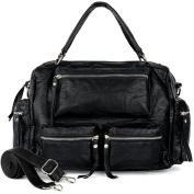 UTO Women Handbag PU Leather Practical Travel Bag Large Capacity Shoulder Bags with Multi Zipper Pockets Black