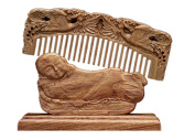 Icegrey Wide-Toothed Carved Birds Sandalwood Wooden Comb Monk