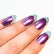 Bling Art Stiletto False Nails Fake Acrylic Purple Glitter Full Medium Tips UK