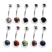 Yantu 10 Piece Stainless Steel Belly Button Ring Body Jewellery Piercing Pack Created with Double Crystals