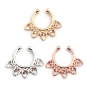 Vcmart Faux Septum Piercing Gold Silver Rosegold Fake Septum Ring Cliker Body Jewellery Non Piericng