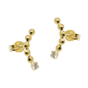 GALLAY 8kt GOLD WHITE CZ Curved Earrings