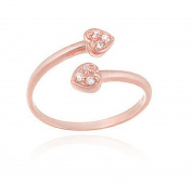 RS JEWELS Awesome 14k Rose Gold Over 925 Sterling Silver Heart Ring- White Cubic Zirconia Bypass Toe Ring