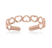 RS JEWELS Awesome 14k Rose Gold Over 925 Sterling Silver Open Hearts Ring- Adjustable Toe Ring