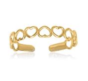 RS JEWELS Awesome 14k Yellow Gold Over 925 Sterling Silver Open Hearts Ring- Adjustable Toe Ring