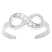 RS JEWELS Awesome 14k White Gold Over 925 Sterling Silver Infinity Ring- White Cubic Zirconia Adjustable Toe Ring